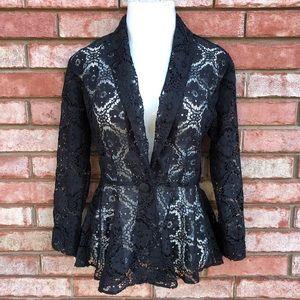 Black crochet lace peplum blazer